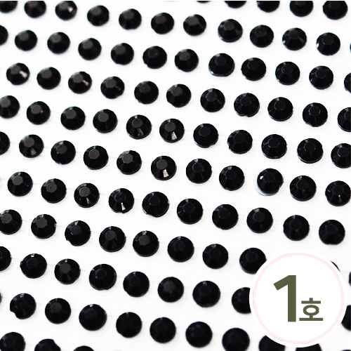 스티커 1호*4mm*검정큐빅*눈알용 (16x25알)   B-10-124