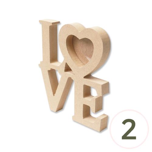 MDF LOVE사진액자(PVC포함) 두께2cm 16x17.5cm (2개입) G-10-212
