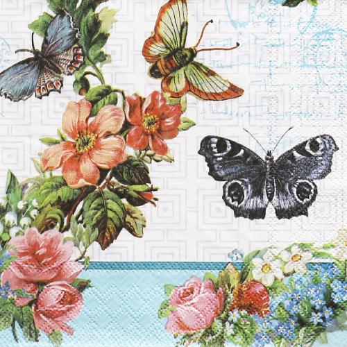 (냅스) 1579 수입냅킨 33*33cm 13309780  FLOWERS AND BUTTERFLIES