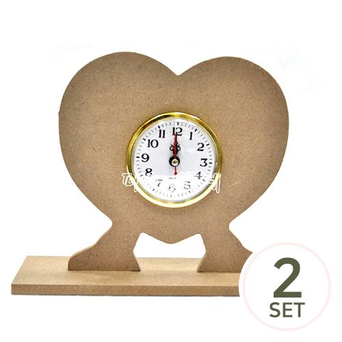 [세트상품] 하트 스탠드 시계(26×19cm / 두께 0.6cm 2개입) +8cm 알시계*금색(2개입)  L-11-106