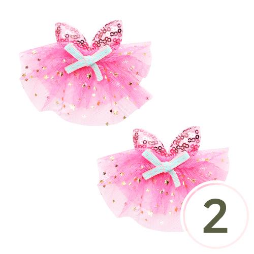 리본 장식(큐티돌 패션*핑크) 9x7cm (2개입) Z-00-142
