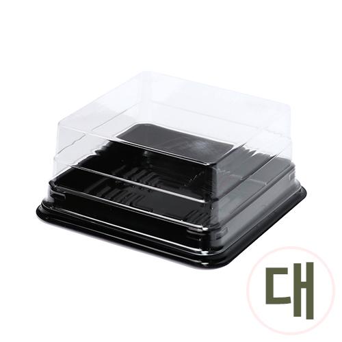 PVC케익케이스*대*검정* 12.5x12.5x6cm (10개입) G-10-115