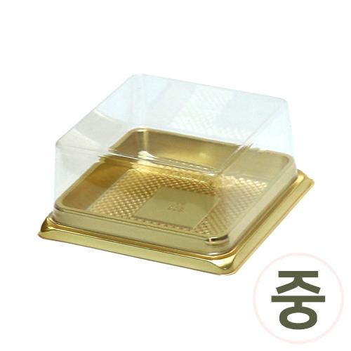 PVC케익케이스*중*금색* 9x9x4.5cm (10개입) J-07-426