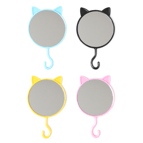플라스틱 고양이 손거울(색상랜덤 발송) 8x14cm S-01-109