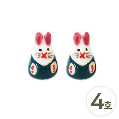 도자기*토끼*4호*초록 15x23mm (2개입) Z-00-184