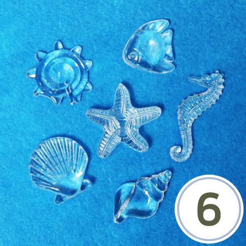 플라스틱 비즈*바다생물 (6개입) Z-00-195