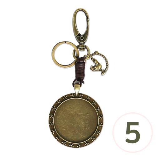 가죽끈 열쇠고리*원형*지름 4cm*길이 13cm (5개입) Z-00-222
