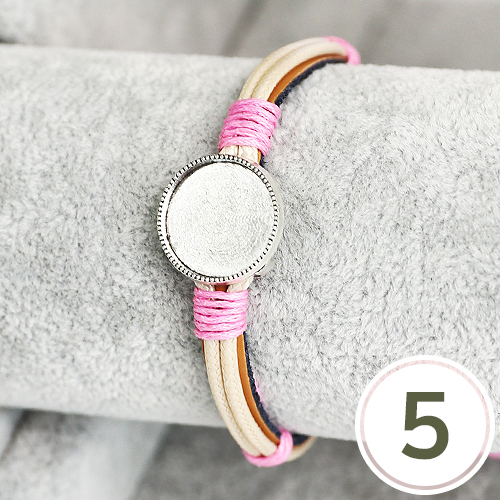 팬던트 두줄가죽팔찌*핑크+은색 (5개입) G-04-126