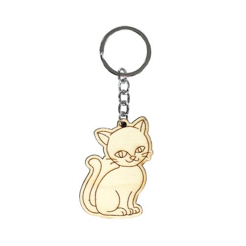 색칠우드 열쇠고리*고양이 4.3x6cm B-08-01