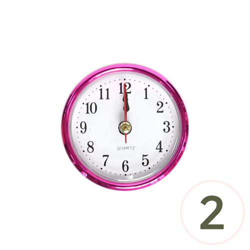6.5cm알시계*핑크*아라비아숫자 (2개입) O-07-212