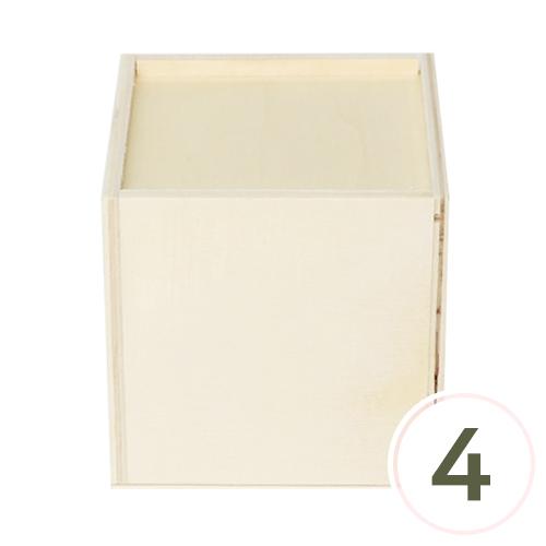 원목정사각미닫이함 9.5x9.5x9.5cm(4개입) M-03-211