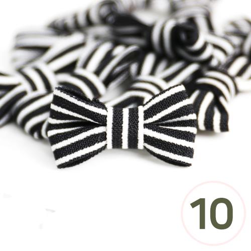 미니줄무늬 리본*검정*25x15mm(10개입) C-05-01