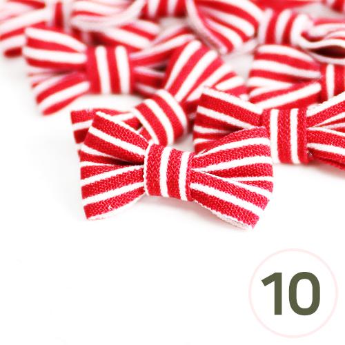 미니줄무늬 리본*빨강*25x15mm(10개입) C-05-01