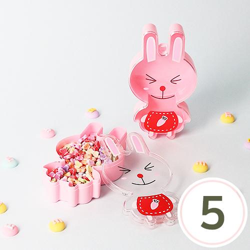 플라스틱 비즈통*토끼*6.8x11.7x2.6cm(5개입) E-10-106