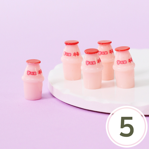 미니어처 소품*딸기우유*12x21mm(5개입) J-05-471