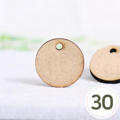 MDF 1구멍 원형판2.5cm 두께3mm(30개입) R-04-308