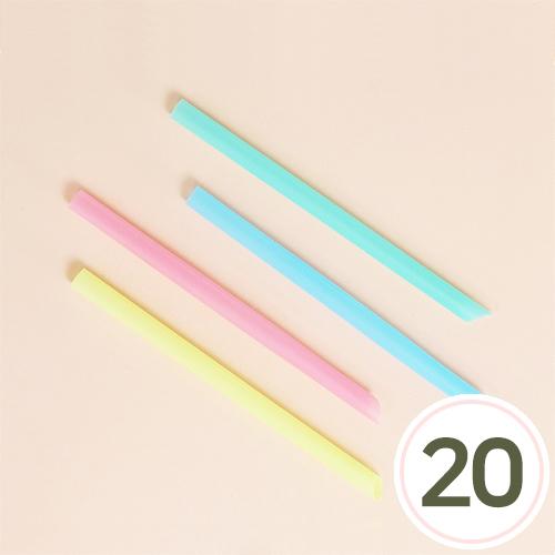 플라스틱 대롱(색상랜덤발송)1.4x23cm(20개입) U-11-106