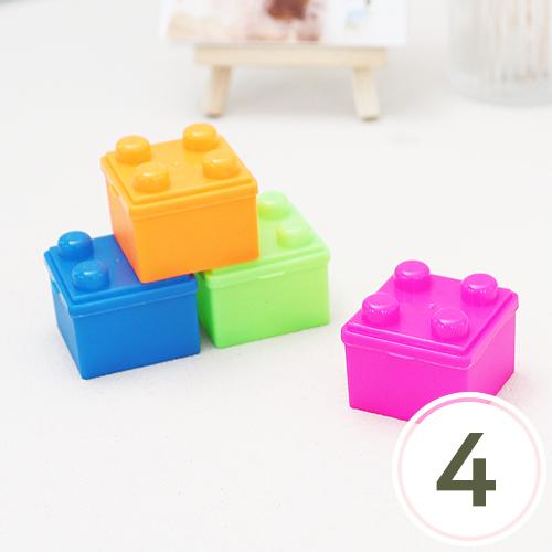 미니어처 블럭상자 4.3x4.3x3.5cm (4개입)(색상랜덤) V-07-109