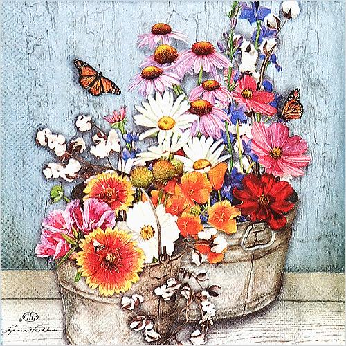 (냅스) 0919 수입냅킨 33*33cm FLOWERS AT HOME