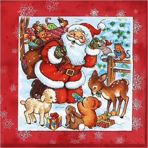 (냅스) 0734 수입냅킨 33*33cm Santa & Animals Red