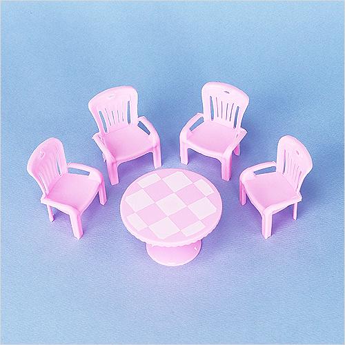 미니어처 핑크 원형탁자&의자4개 탁자6.7x4cm,의자4.3x5.4cm J-10-435
