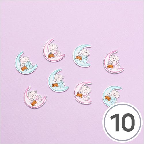 우드장식*달&아기8x15mm(10개입) WX-10-242