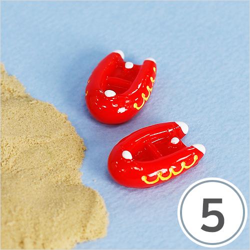 미니어처소품*보트*빨강*27x18mm(5개입) R-10-413