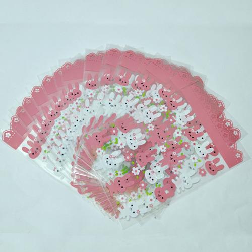 쿠키비닐봉투*핑크토끼*20매입 R-02-102