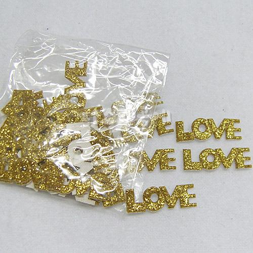 LOVE 반짝이*금색*30개입*2.6*1cm D-07-130