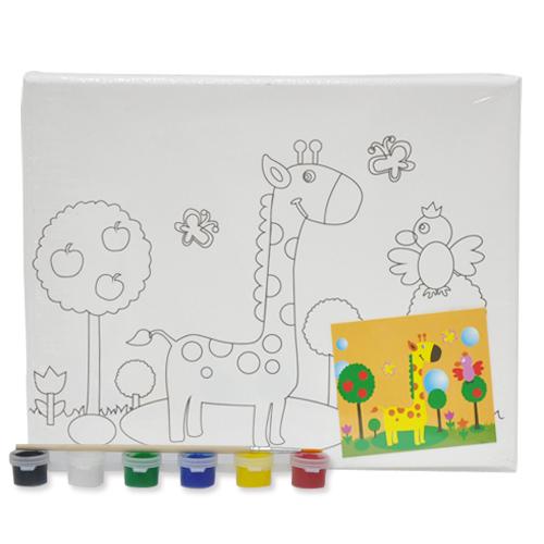 색칠 캔버스화*기린+붓*6색물감(25*20cm) P-01-113
