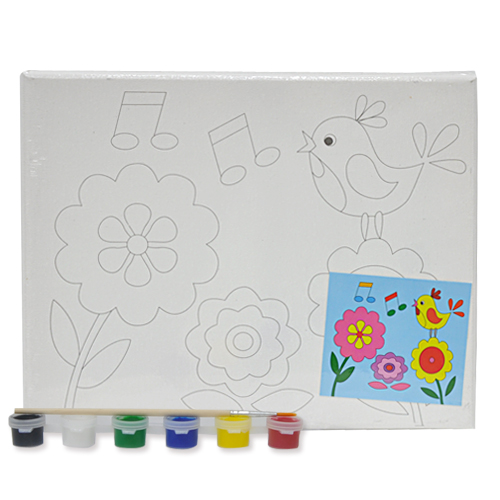 색칠 캔버스화*새+붓*6색물감(25*20cm) P-01-207