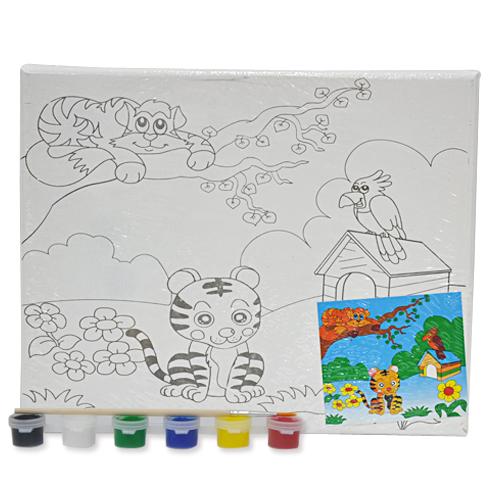 색칠 캔버스화*호랑이+붓*6색물감(25*20cm) P-01-205
