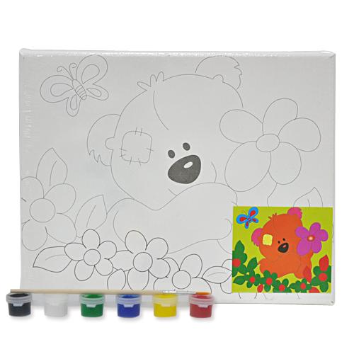 색칠 캔버스화*아기곰+붓*6색물감(25*20cm) P-01-208