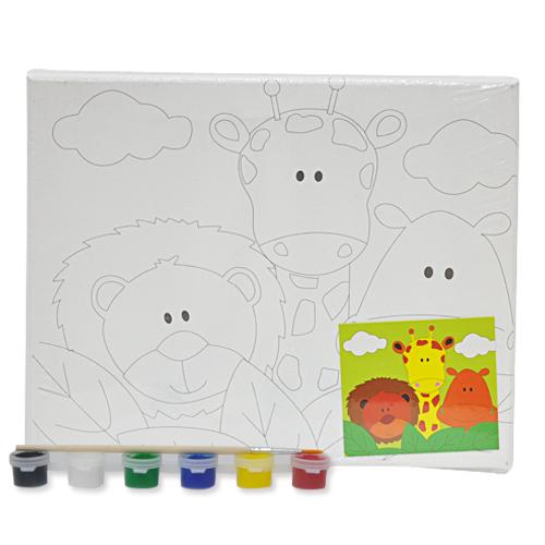 색칠 캔버스화*동물+붓*6색물감(25*20cm) P-01-204