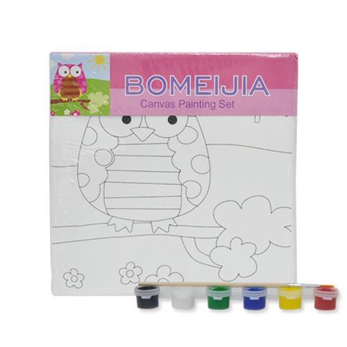 색칠캔버스화*부엉이+붓*6색물감(20*20cm) P-01-203
