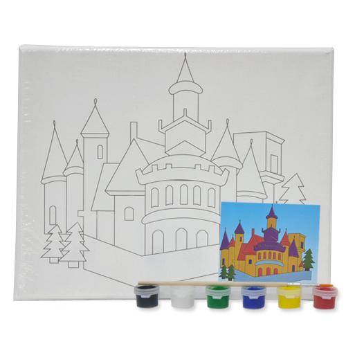 색칠 캔버스화*성+붓*6색물감(25*20cm) P-01-206