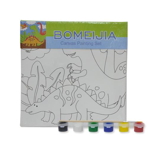 색칠 캔버스화*공룡+붓*6색물감(20*20cm)    P-02-201