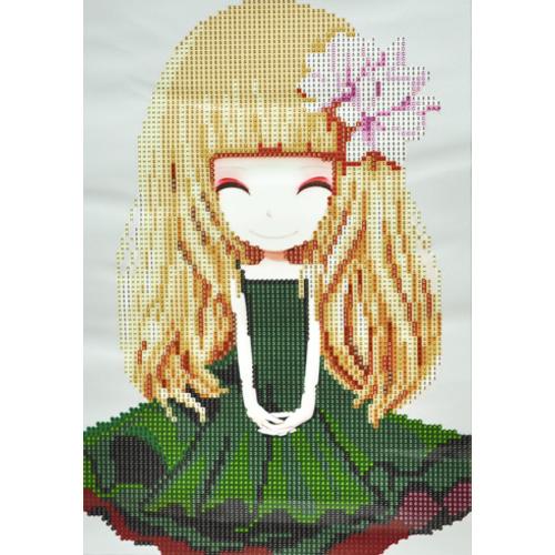 JCN-048*보석십자수 플라워소녀3호 초록 22.5x32.5Cm(8617) D-09-132