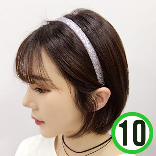 반짝이머리띠*2호*은색 폭1.3cm(10개입) Q-07-302