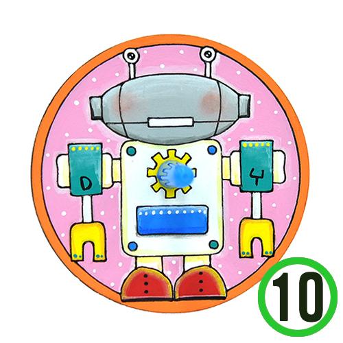 팬시소품 팽이2호*로봇*8 cm (10개입)   X-03-02