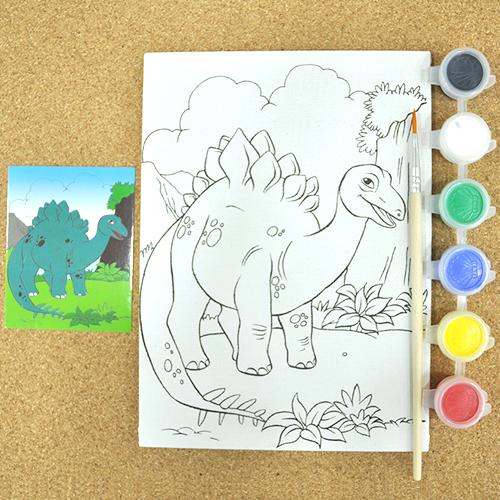 색칠캔버스화*공룡+붓*6색물감 13x18cm *O-01-101