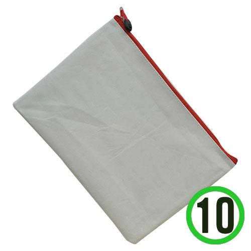 (냅스) A4서류가방*빨강*지퍼+하양*33x24cm(10개입) K-08-104