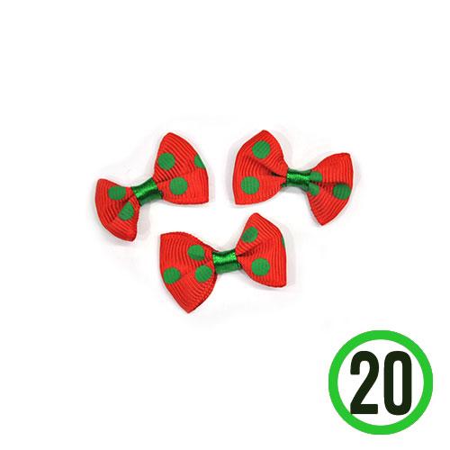 땡땡이리본 빨강+초록 3.5x2.5cm(20개입)