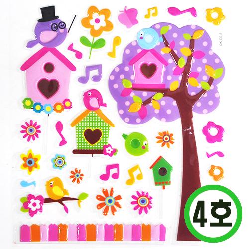 룸데코 스티커 4호*음표&꽃나무 19.5x28.5cm * C-09-01