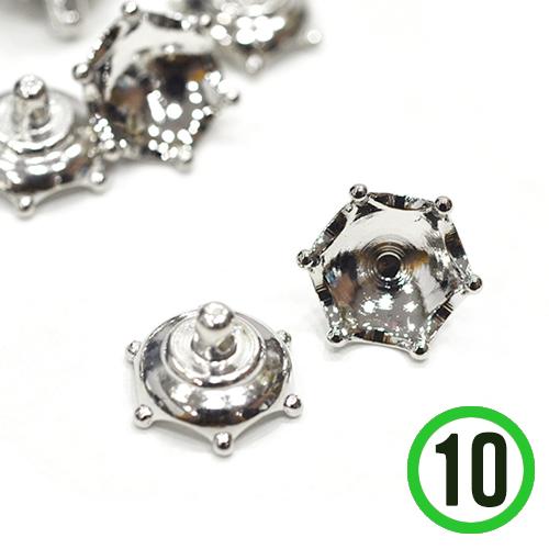 유리볼캡 7호 *왕관*은색 16mm(10개입)  A-07-167