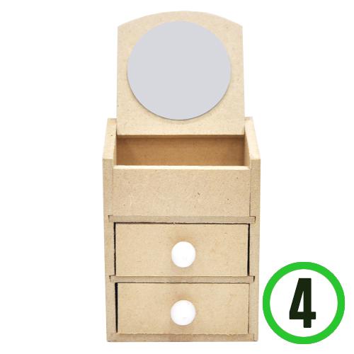 (냅스) 2칸서랍&미니경대(5cm거울알포함)7.5x7x9.5cm(4개입) W-07-108