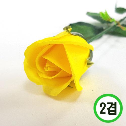 2겹비누장미*노랑*(꽃대미포함) 6x6cm(50개입) F-11-105