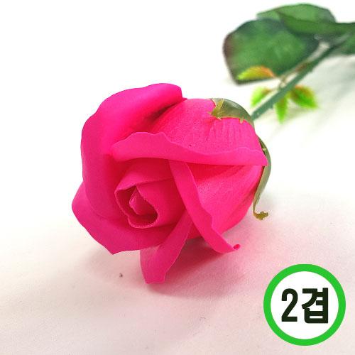 2겹비누장미*핫핑크*(꽃대미포함) 6x6cm(50개입) F-11-102