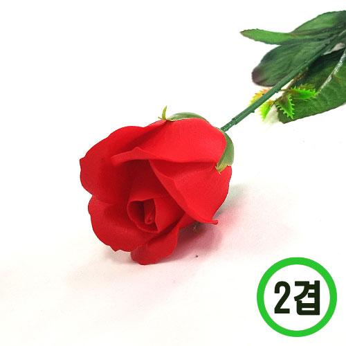 2겹비누장미*빨강*(꽃대미포함) 6x6cm(50개입) F-11-301