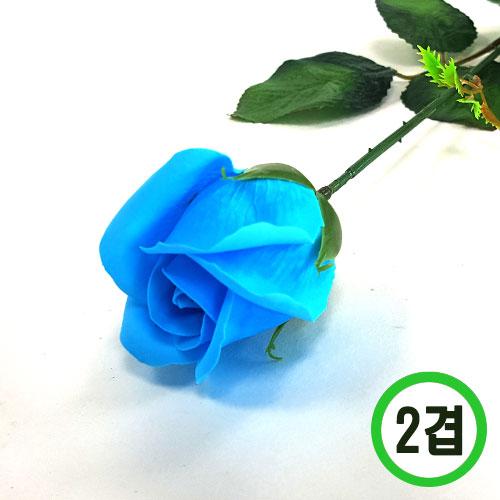 2겹비누장미*파랑*(꽃대미포함) 6x6cm(50개입) F-11-303